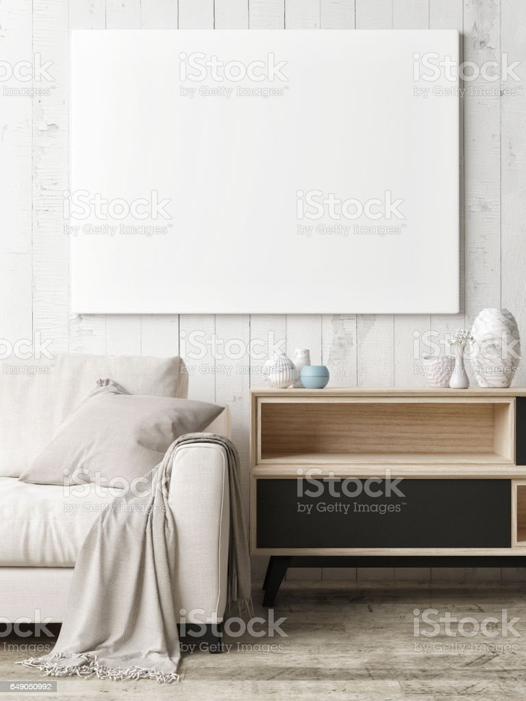Close Up Poster On Hipster Living Room Background Royalty Free Stock Photo