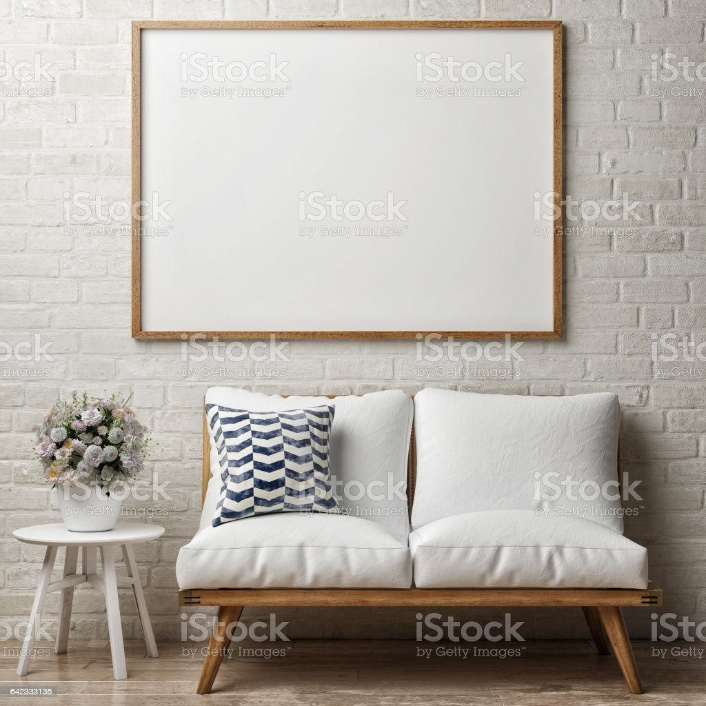 Close up poster on white brick wall, hipster interior stock photo