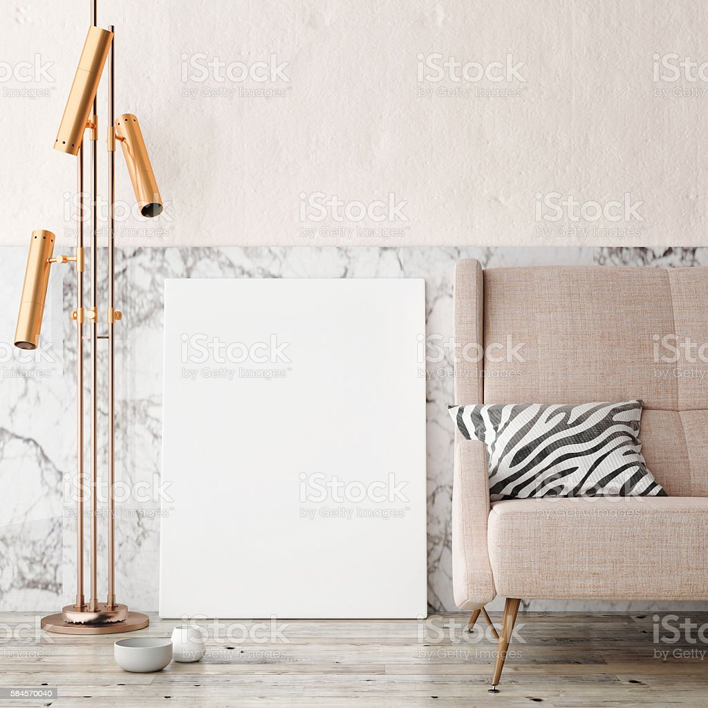 Close up poster with vintage hipster loft interior background stock photo