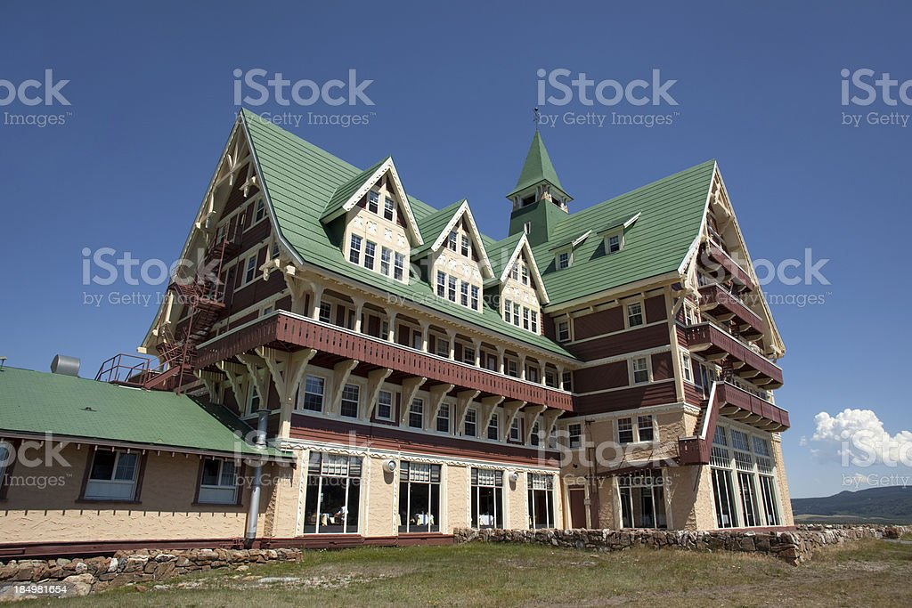 Close up Prince of Wales Hotel Waterton Lakes National Park stock photo