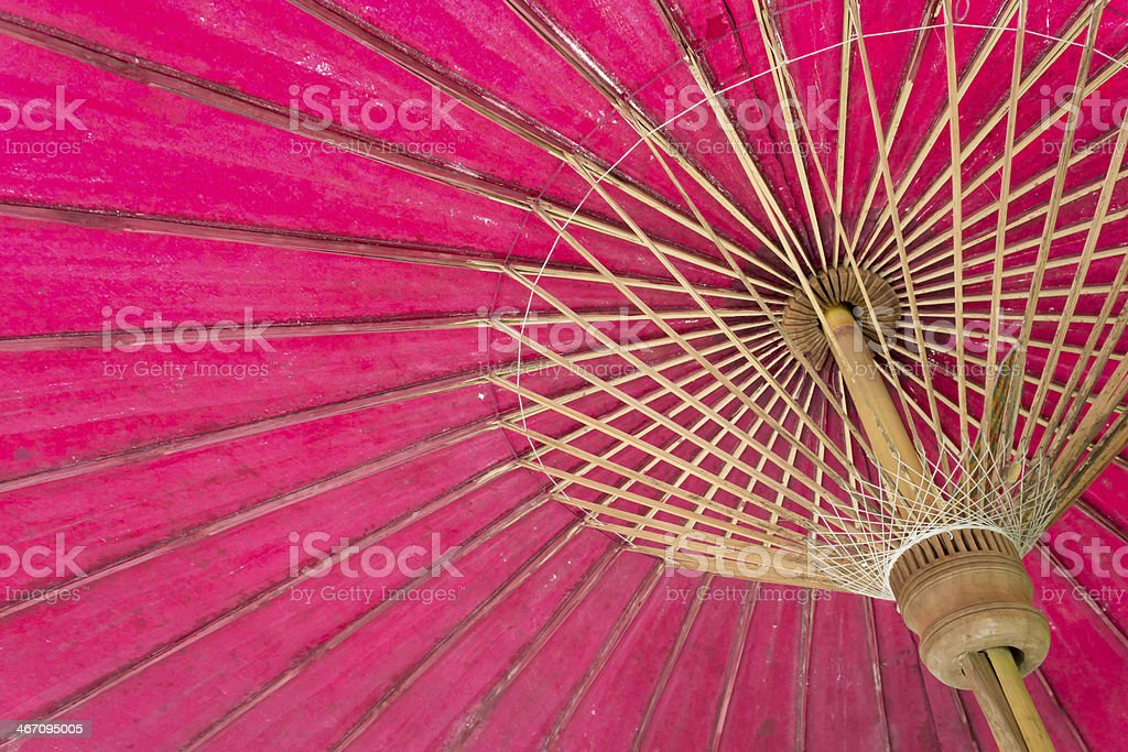 close up red structure wooden umbrella royalty-free stock photo
