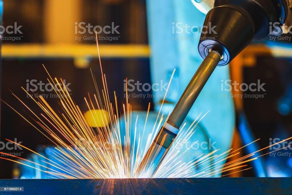 Close up robot welding