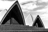 Close Up roofline 'The sails' of Sydney's Opera House.  Australia.