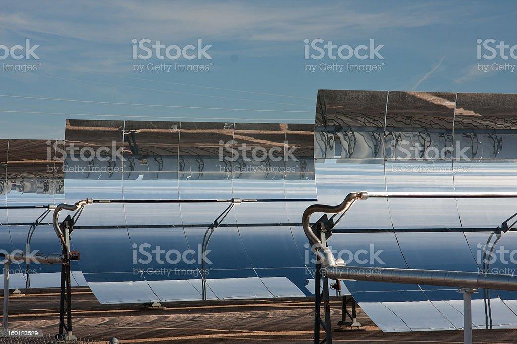 Close up rows of parabolic mirrors stock photo