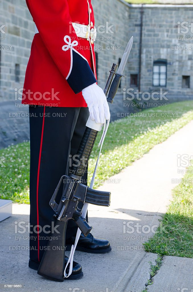Close up Royal Guard's legs in front of Quebec Citadel stock photo