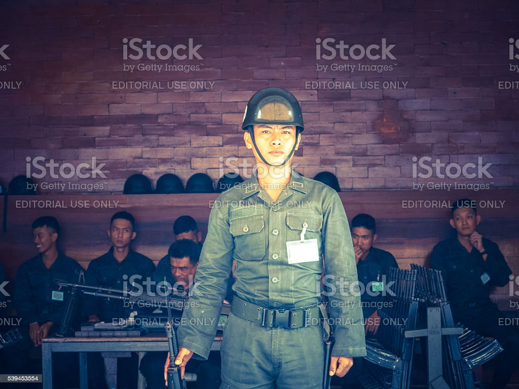 Close Up Royal Thai Army Military Soldiers with Weapons, Bangkok stock photo
