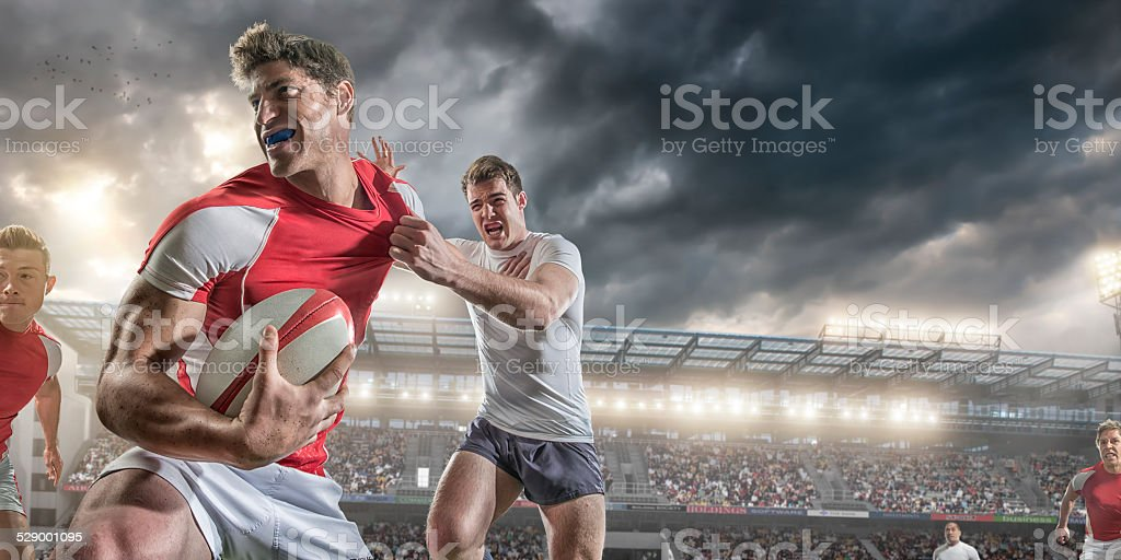 Close up Rugby Action stock photo