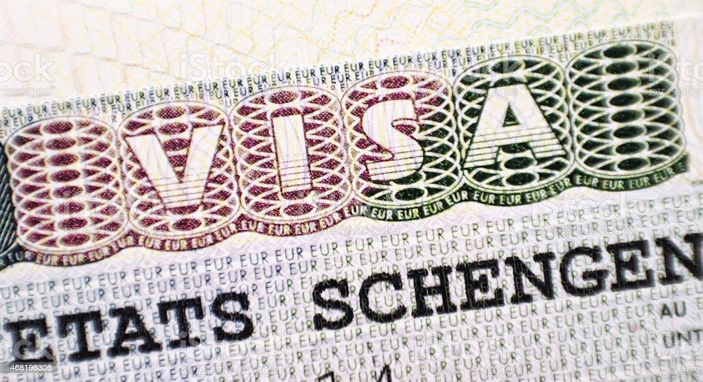 Close up Schengen visa in the passport stock photo