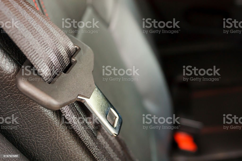 close up seat belt in modern car stock photo