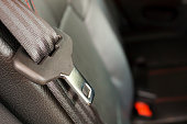 close up seat belt in modern car
