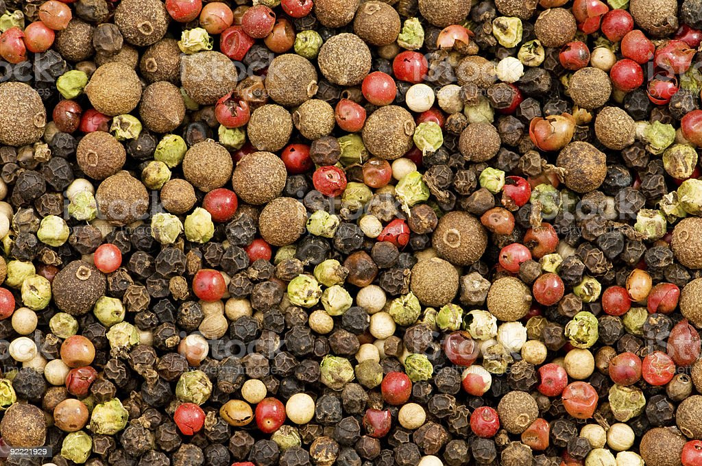 Close up selection of various pepper types royalty-free stock photo
