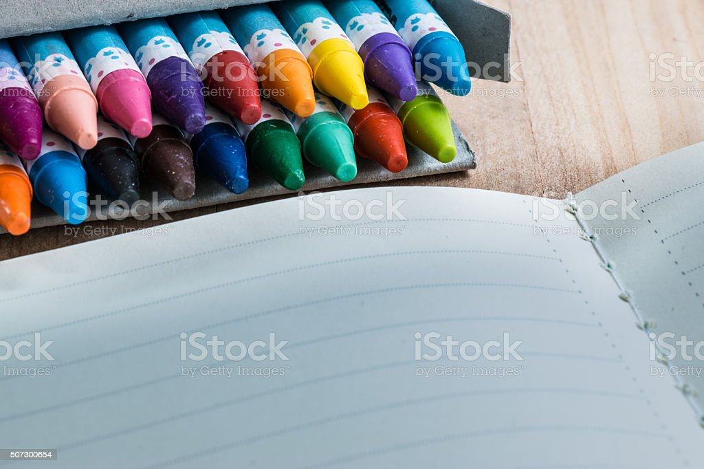 Close up set of crayon in the box stock photo