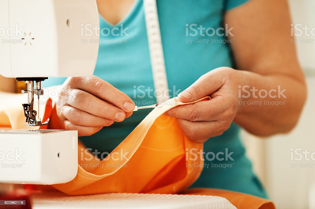 Close up. Sewing Time. stock photo