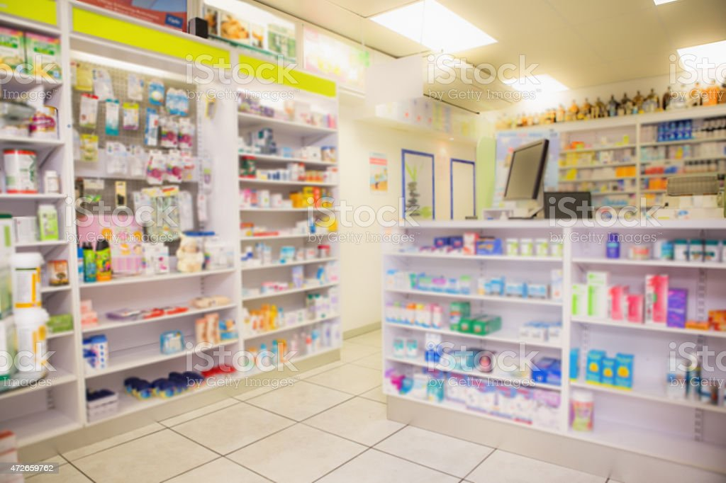 Close up shelves of drugs stock photo