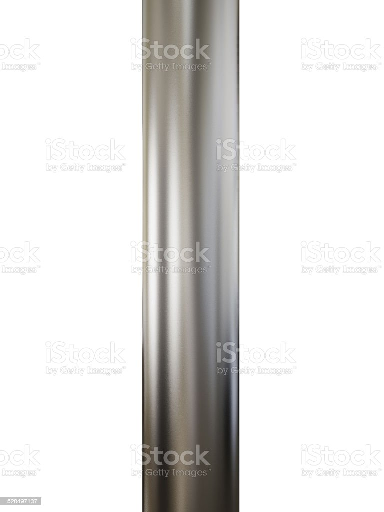 Close up shiny metal pipe on white background stock photo