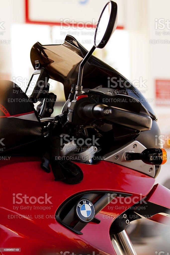 BMW F650 GS Close Up Shot at Petrol Station. stock photo