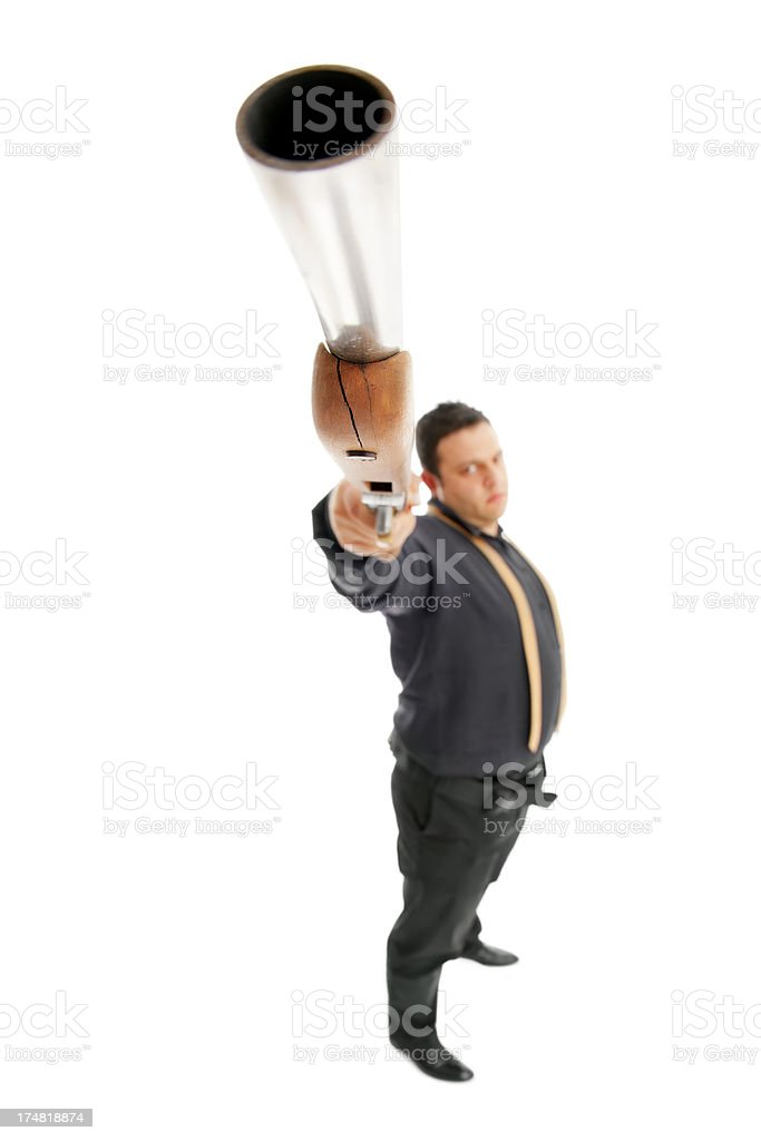 Close up shot- Man Aim at with a rusty rifle royalty-free stock photo