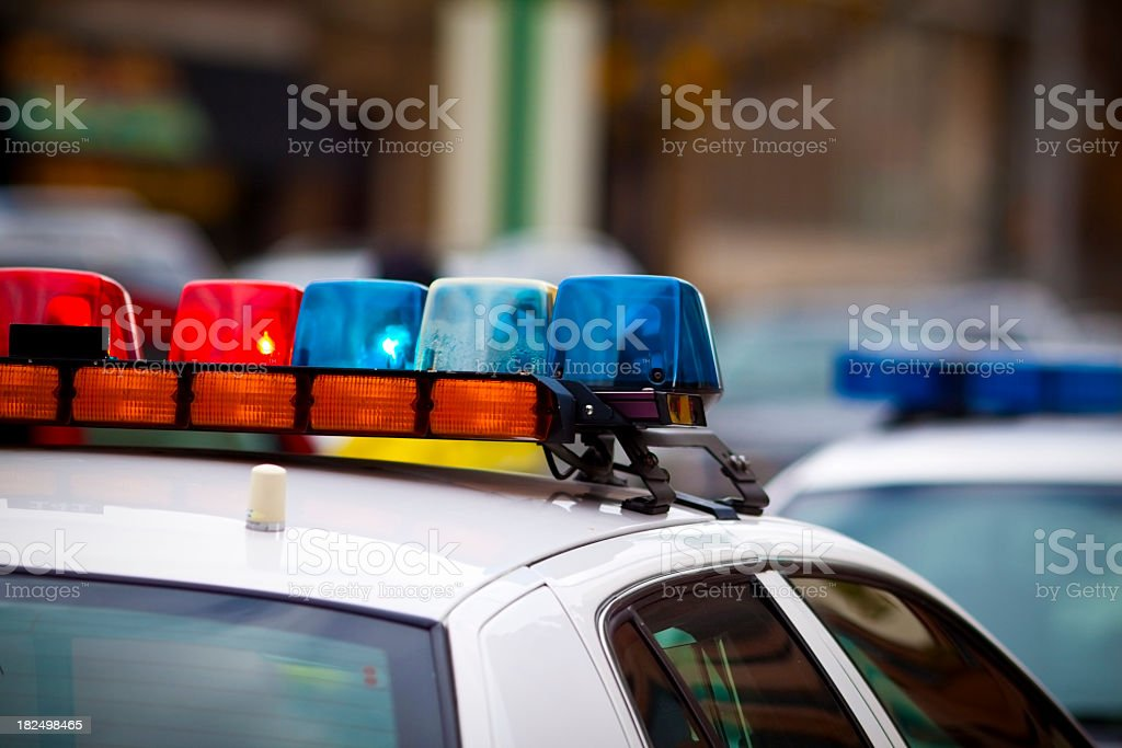Close up shot of a police car's siren stock photo