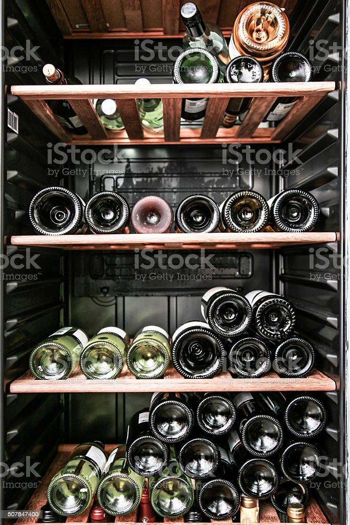 close up shot of a wine cellar. stock photo