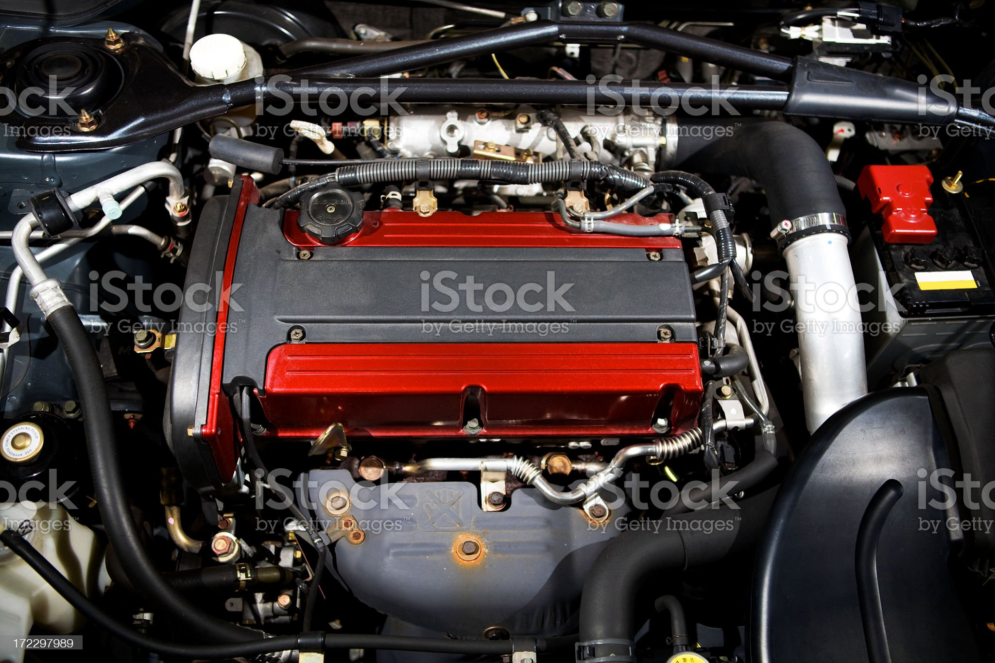 Close up shot of an automobile engine royalty-free stock photo