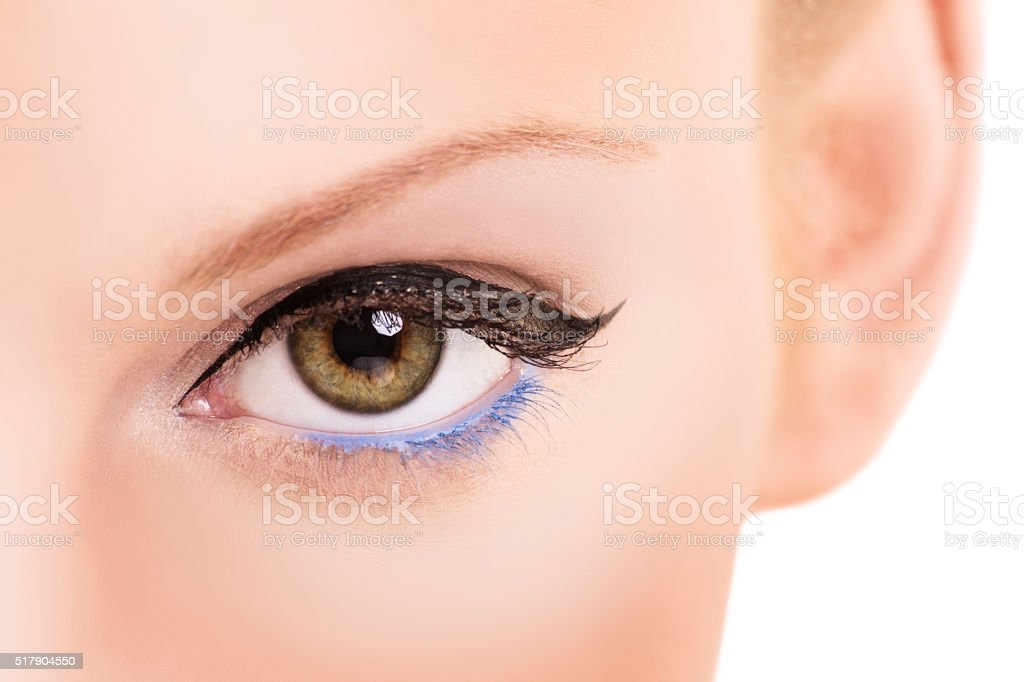 Close up shot of an eye with make up stock photo