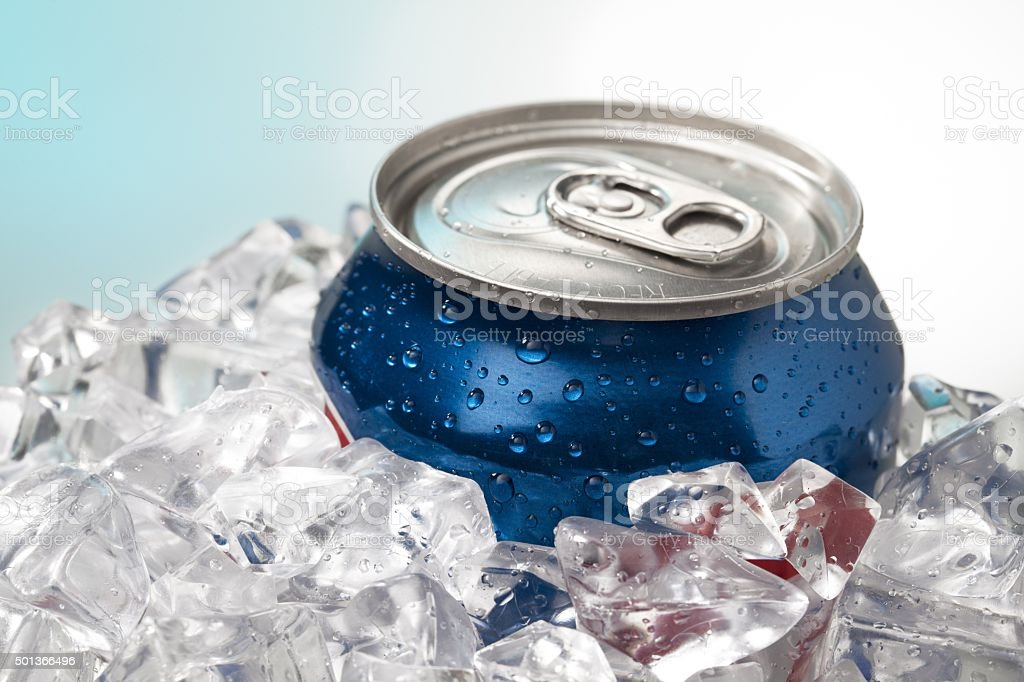 close up shot of blue cola can stock photo