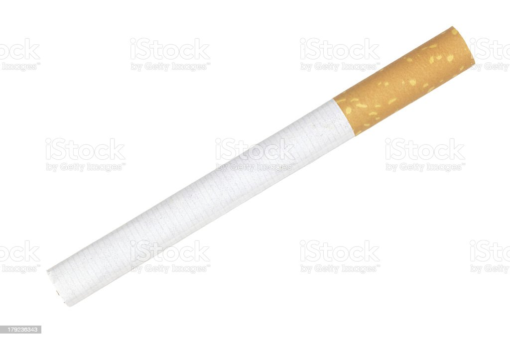 close up shot of cigarette isolated on a white background royalty-free stock photo