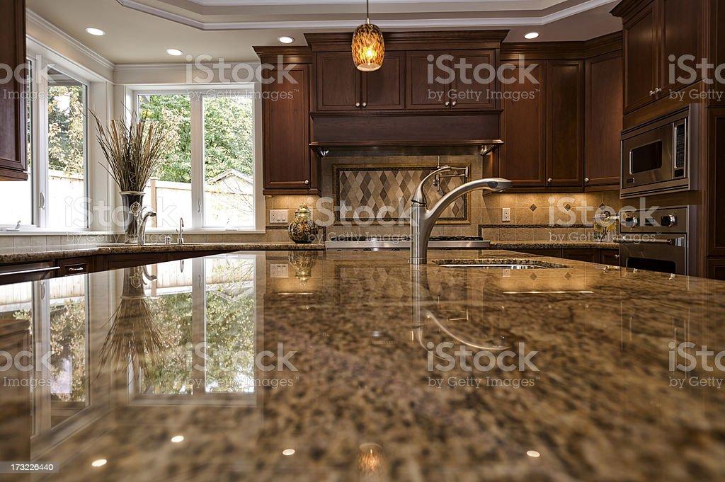 Close up shot of granite kitchen counter royalty-free stock photo