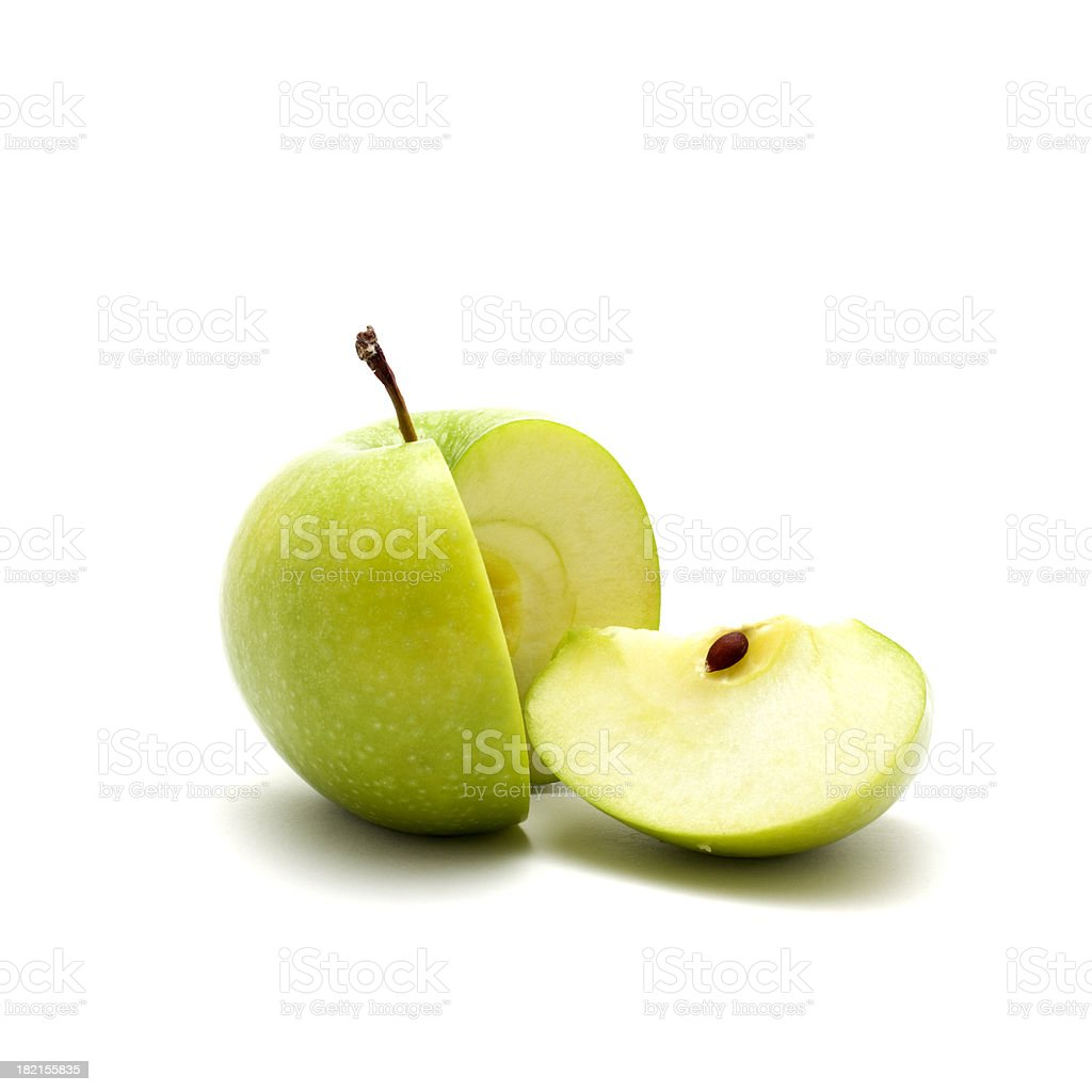 close up shot of green sliced apple stock photo