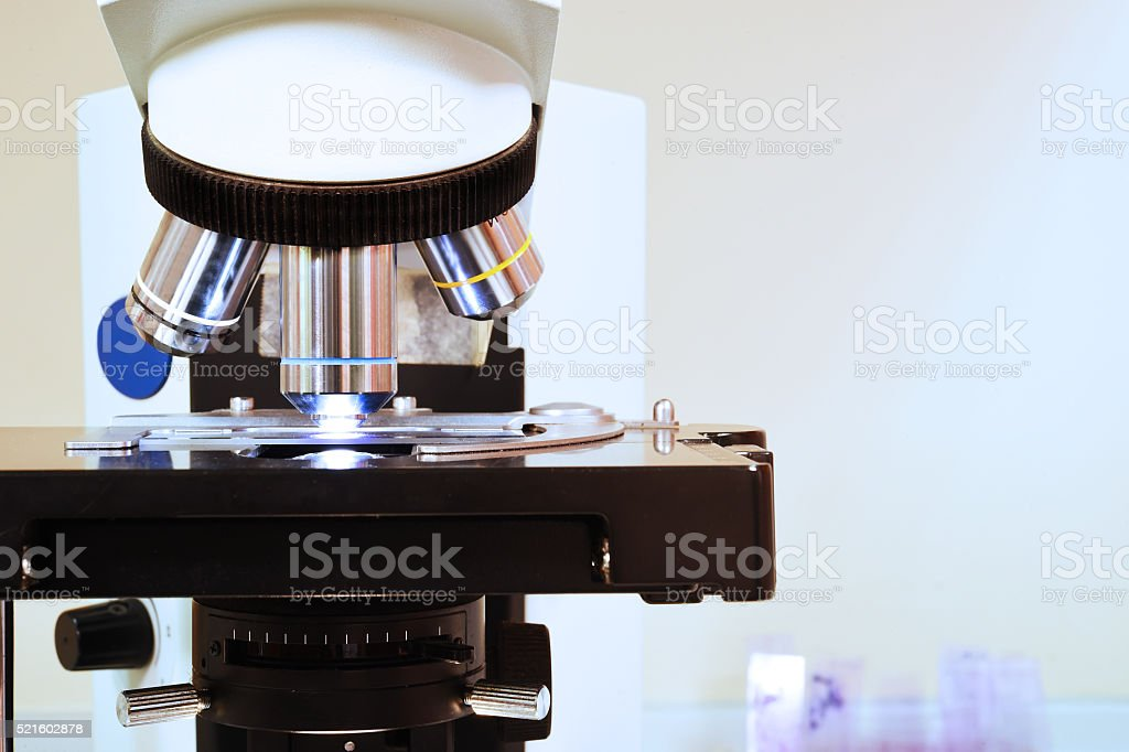 close up shot of microscope at the blood laboratory stock photo