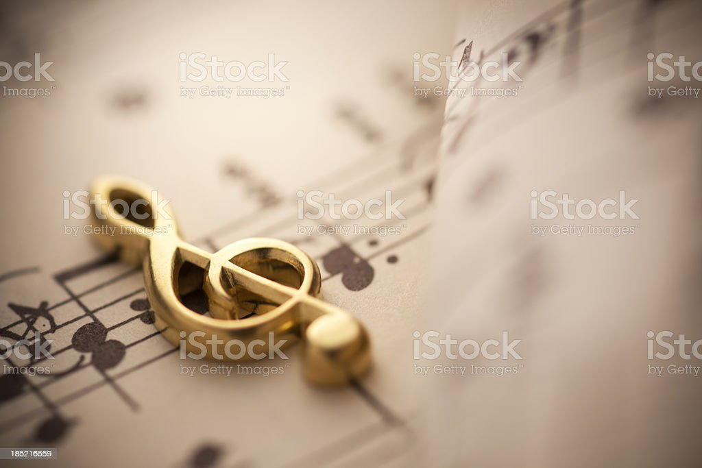 Close up shot of music notes stock photo