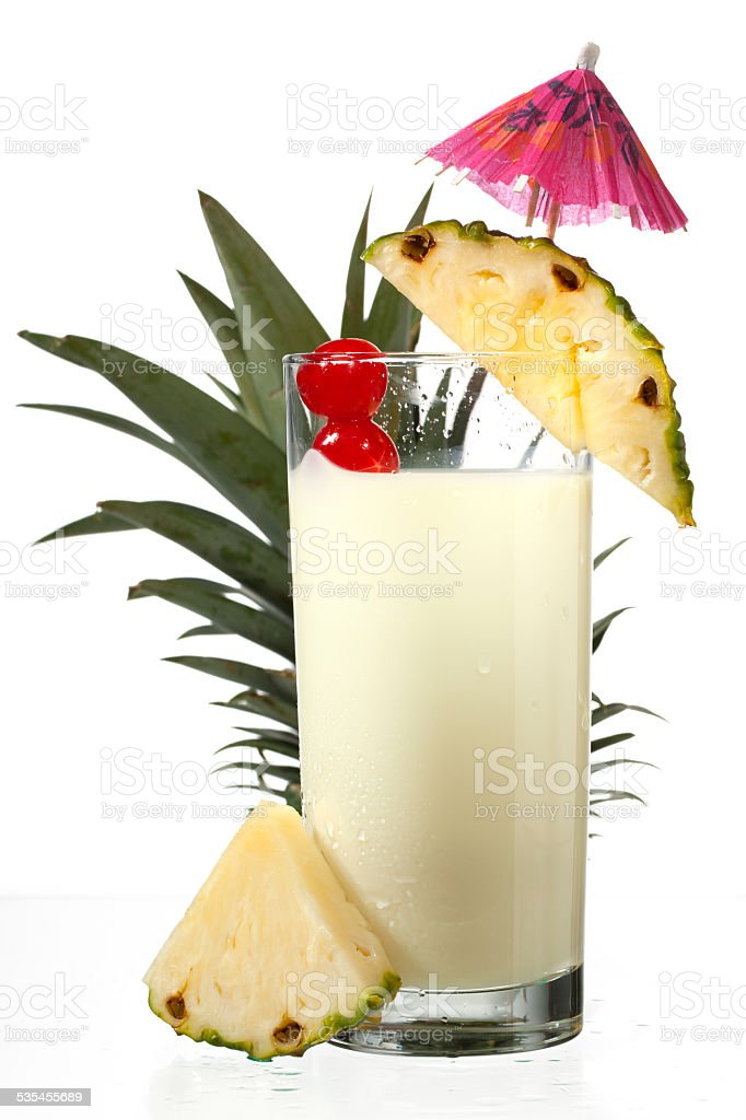 close up shot of pineapple milkshake stock photo
