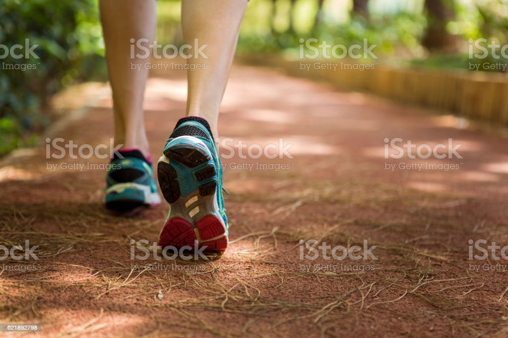 Close up shot of runner's shoes stock photo