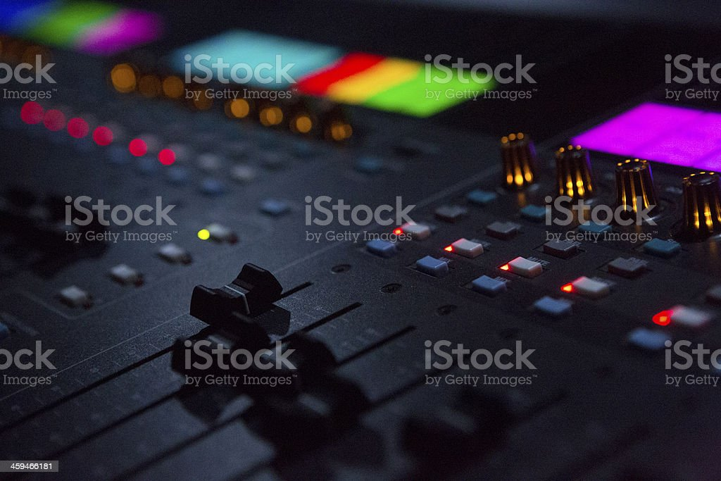 Close Up Shot Of Sound Mixing Desk In Venue stock photo