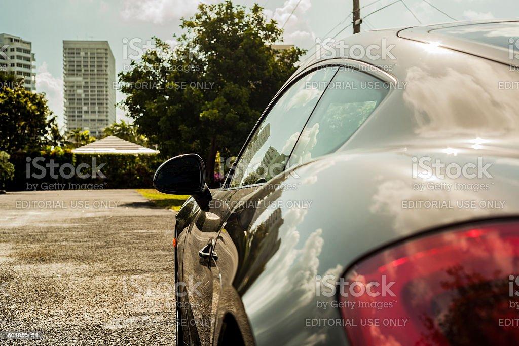 Close up shot sideways. Porsche Cayman in residential area stock photo