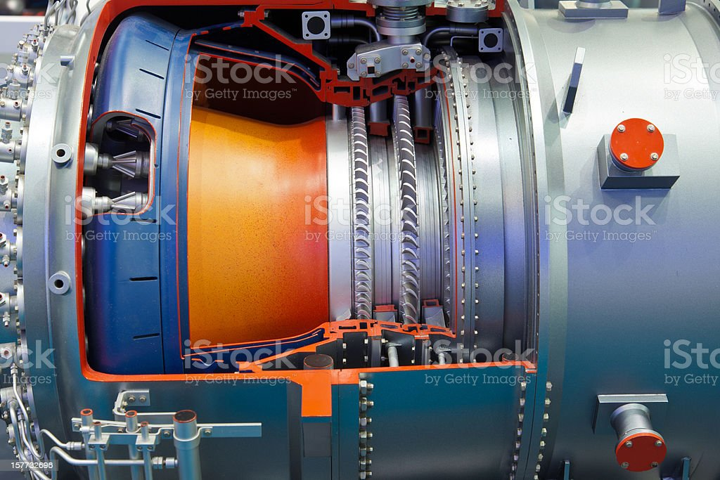 A close up shot with details of an industrial gas turbine  stock photo