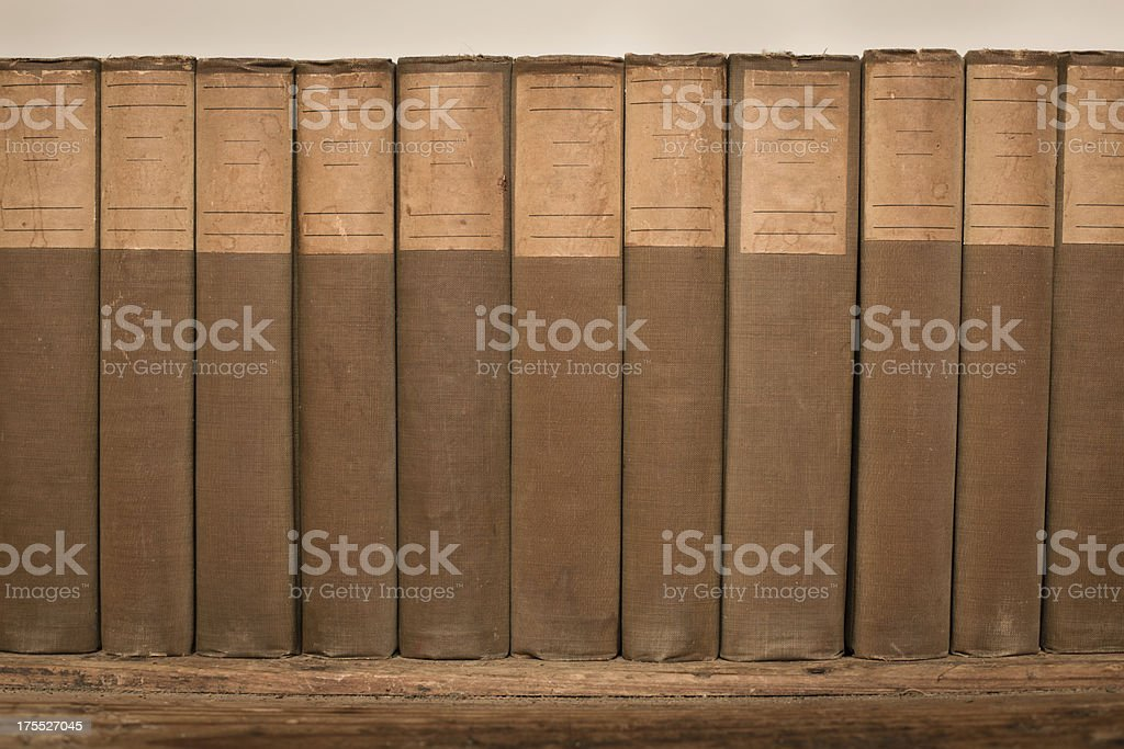 Close Up Showing Library of Vintage Books royalty-free stock photo