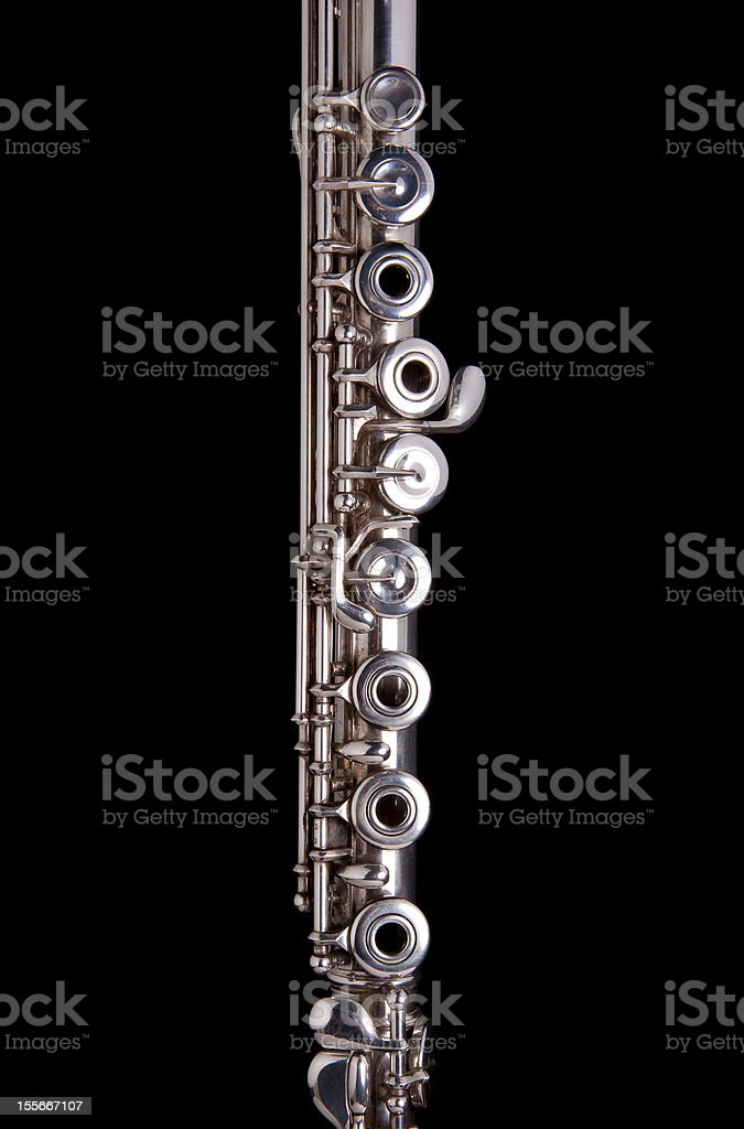 Close up Silver Flute in black background stock photo