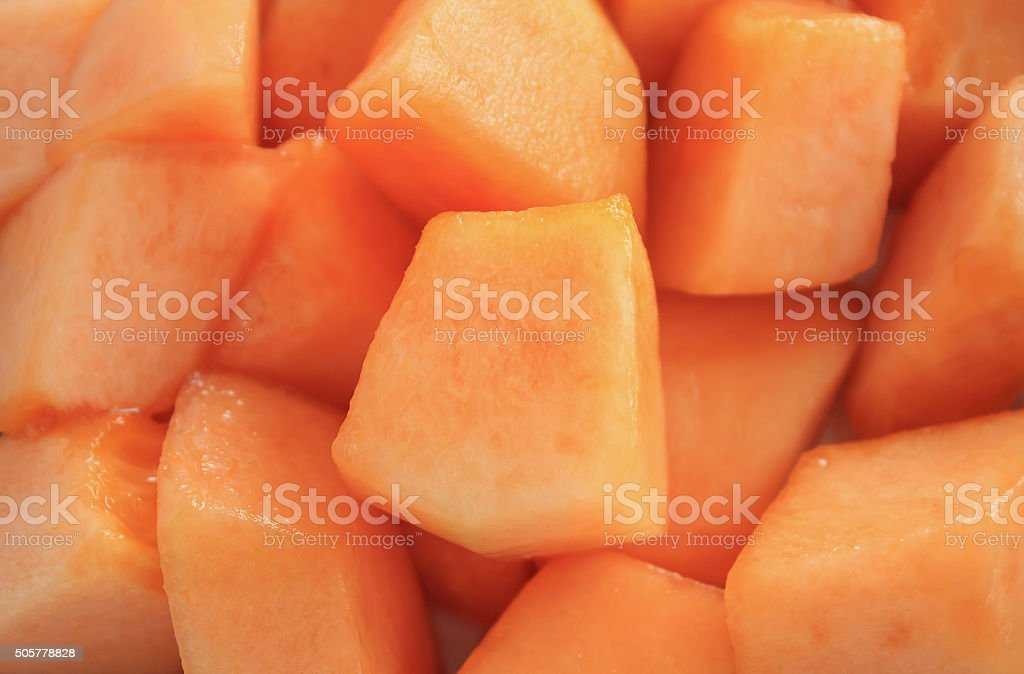 Close up slice of fresh melon stock photo