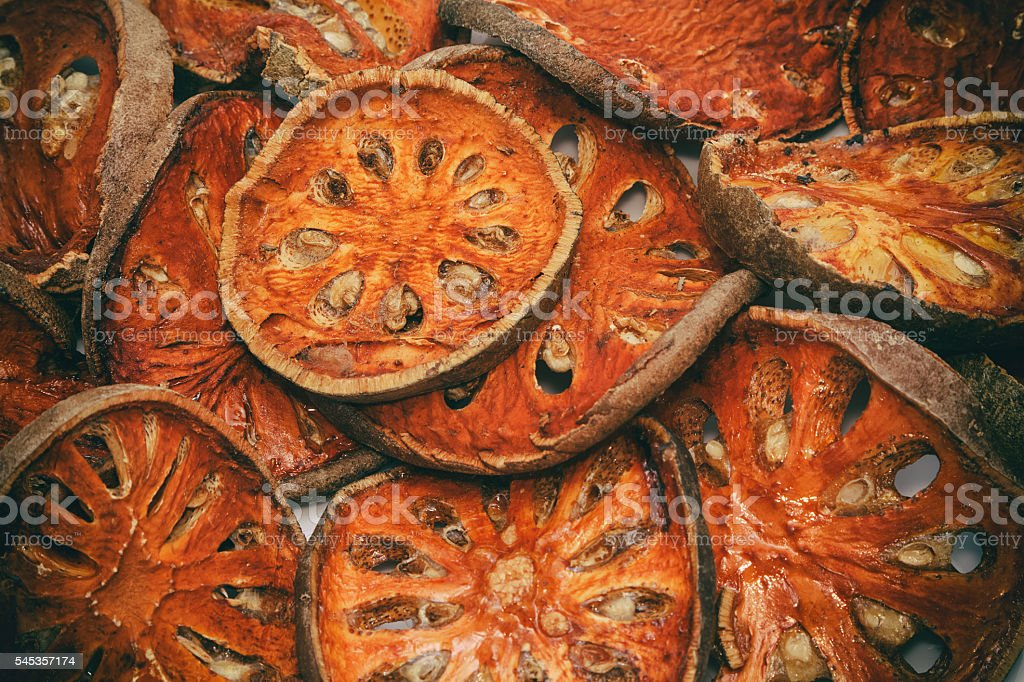 Close up slices of dried bael fruit stock photo