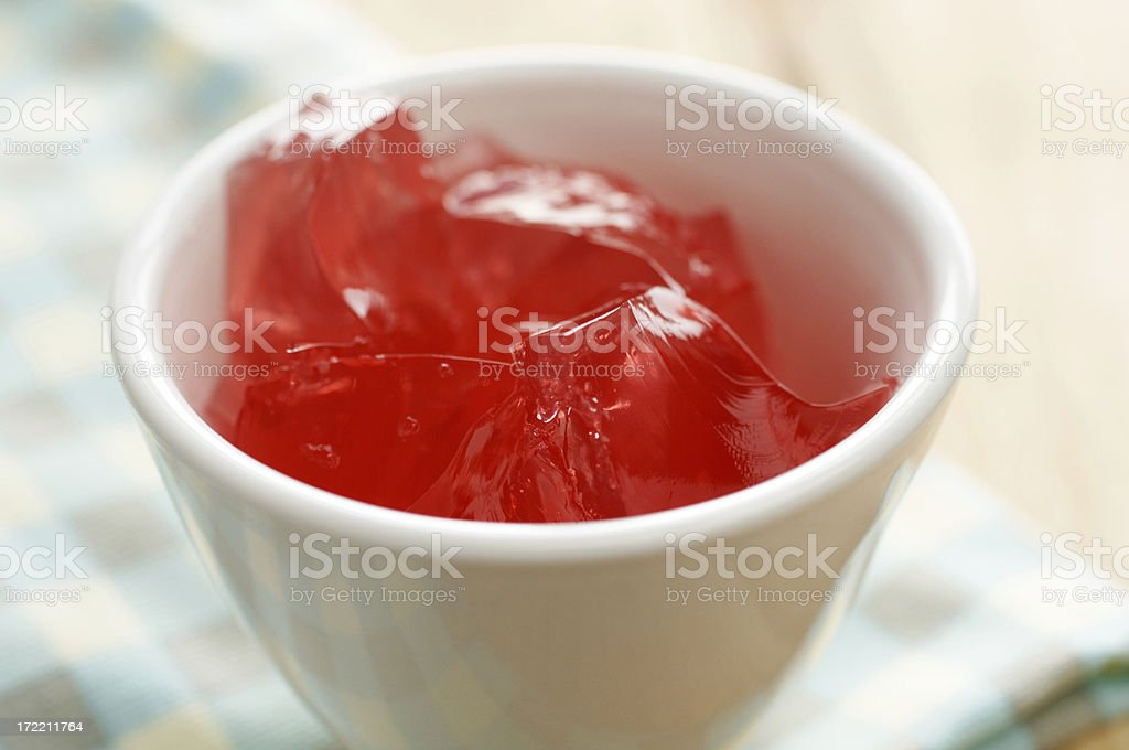 Close up; small bowl of strawberry jelly stock photo