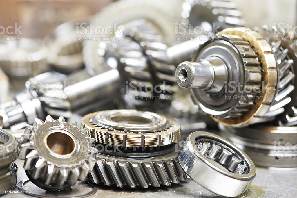 Close up snapshot of small gears from an automobile engine stock photo