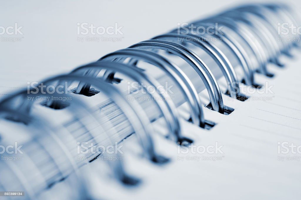 Close up spiral notebook stock photo