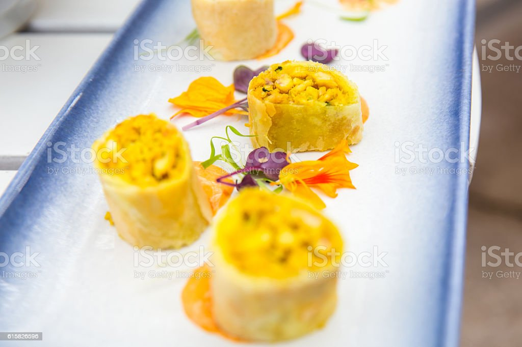 Close up spring roll slices stock photo