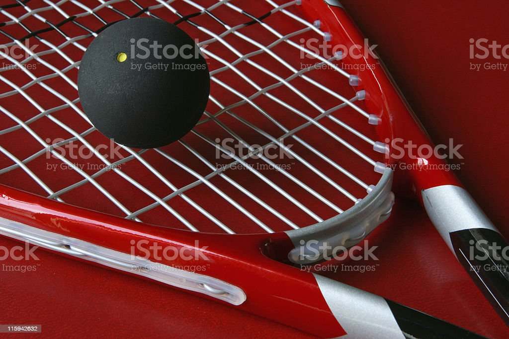 Close up squash racket and ball  royalty-free stock photo