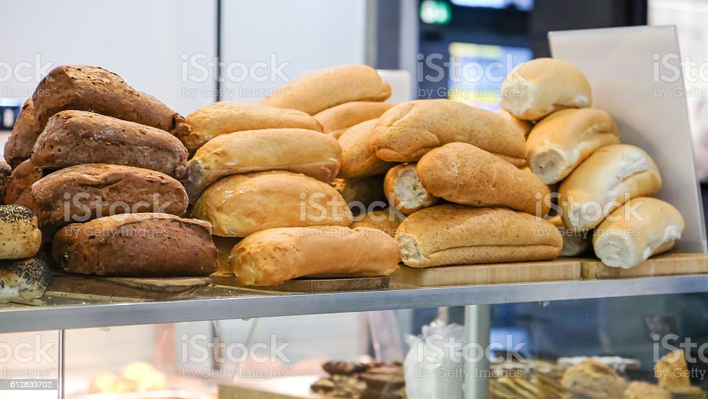 Close up stack of bread loaf in bakery stock photo
