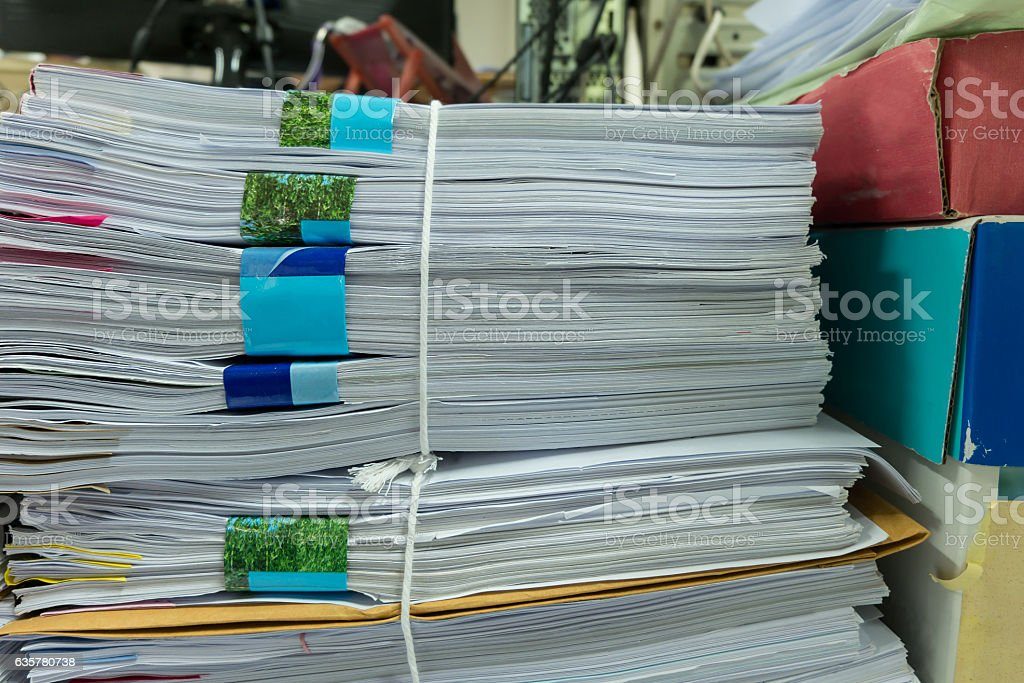 Close up stack of document at office. stock photo