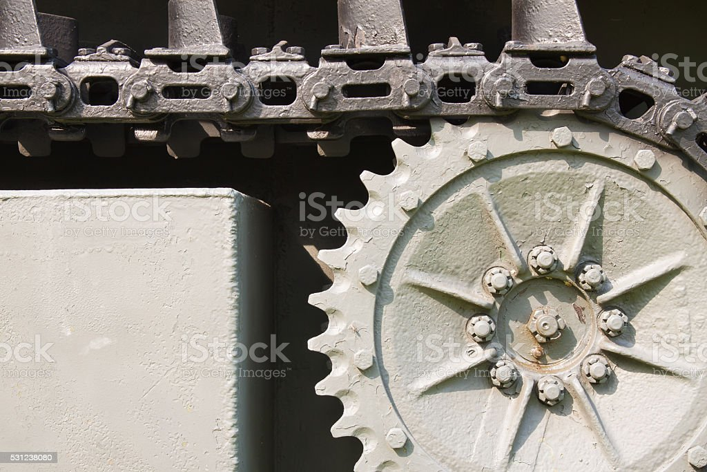 Close up steel chain of tank wheel royalty-free stock photo