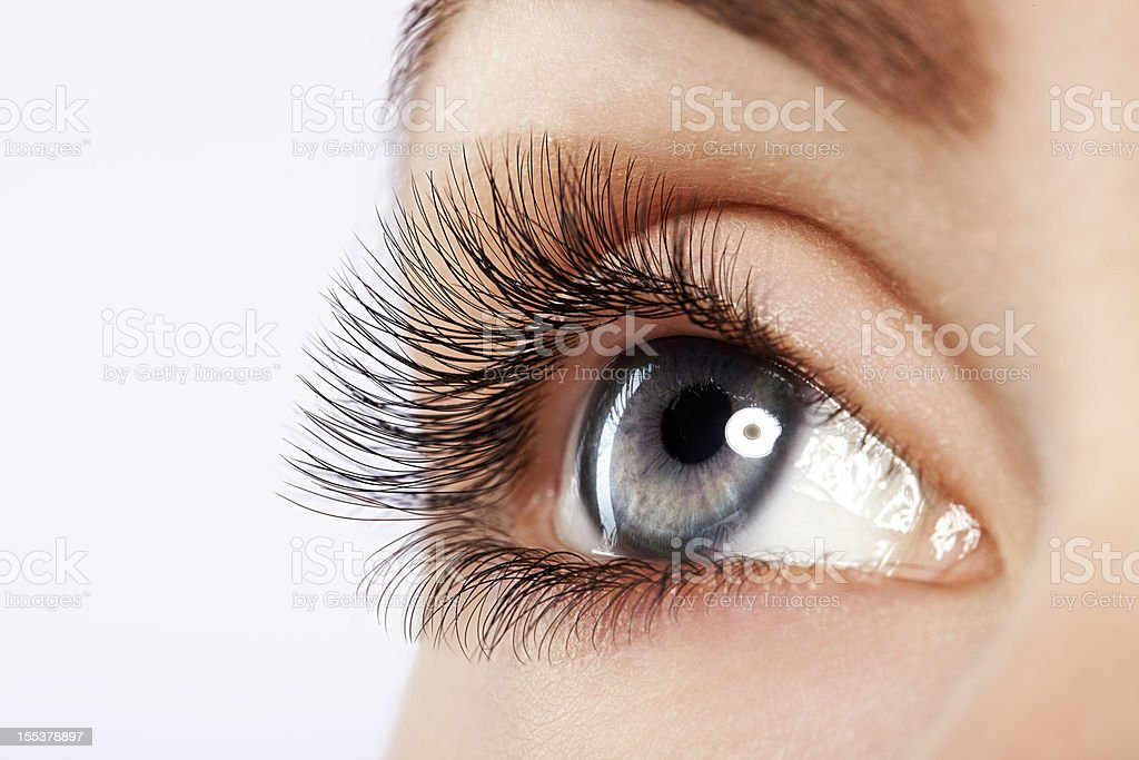 Close up studio shot of woman's eye royalty-free stock photo