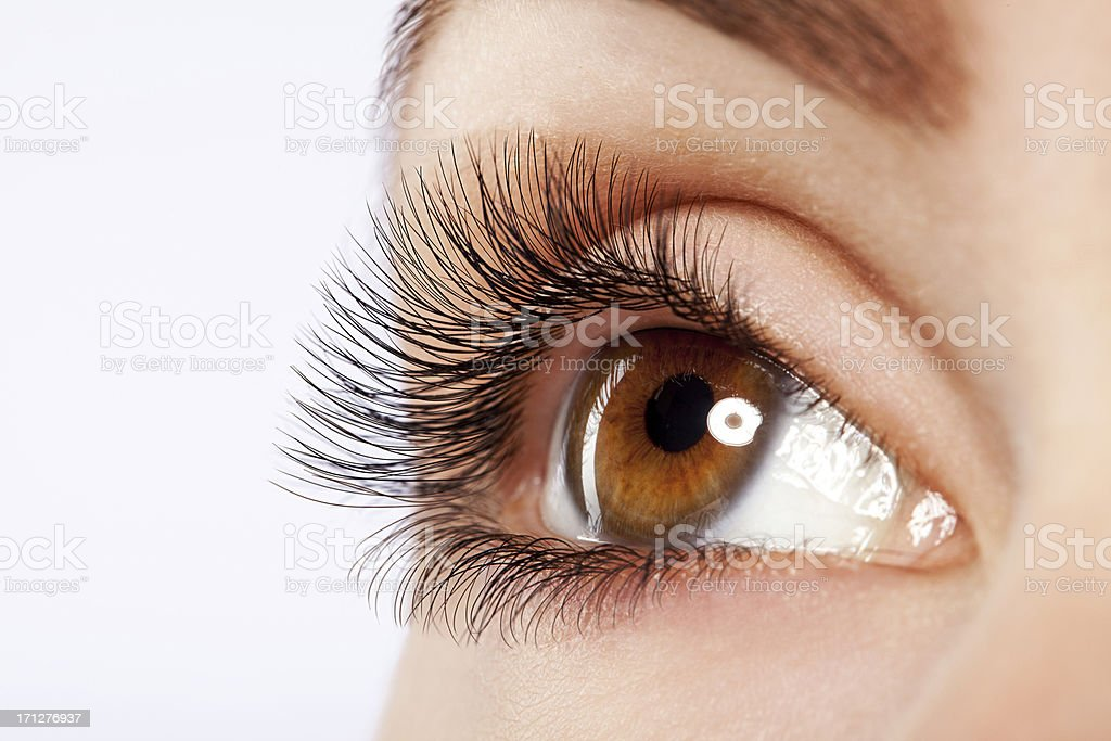 Close up studio shot of woman's eye stock photo
